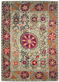 uzbek suzani tapestry, silk embroidered on cotton foundation, Shahrisabz region, Uzbekistan, 19th c.