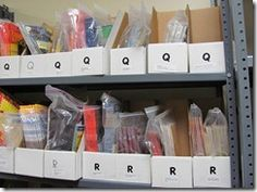 Guided reading book room... organization of books into levels and baggies...