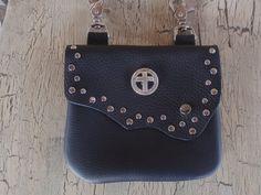 LEATHER STUD BIKER HIP BELT LOOP CLIP POUCH BAG #Handmade #beltloopclipbag