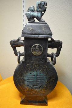 """Vintage Chinese Jade Incense Burner 16"""" x 7"""""""