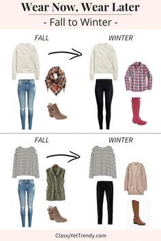 Wear Now, Wear Later: Fall To Winter - a sweater, distressed jeans, plaid scarf, suede ankle boots booties, leggings, plaid shirt, Hunter boots, striped top, utility olive vest, black jeans, cardigan and boots are featured.