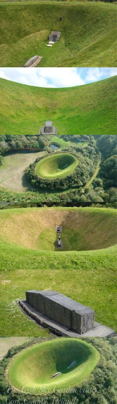"The Irish Sky Garden Crater by Turrell, is located on the grounds of Liss Ard Estate, Skibbereen, County Cork.  It is, as the name suggests, a man made crater, created through the mounding of earth on all sides.  At the center lies the ""Vault Purchase"", a monolithic stone plinth, upon which offers unobstructed, focused views of the sky, offering a chance for contemplation."