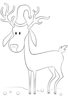Christmas Reindeer coloring page from Christmas Animals category. Select from 31983 printable crafts of cartoons, nature, animals, Bible and many more. Christmas Moose, Christmas Animals, Christmas Colors, Simple Christmas, Christmas Ornament, Christmas Decor, Drawing Tutorials For Kids, Drawing For Kids, Drawing Ideas