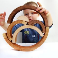 Brainbow wooden natural rainbow stacking toy by littlesaplingtoys, $30.00