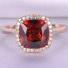 8mm Cushion Cut Garnet and Diamond Engagement Ring 14K Rose Gold Halo