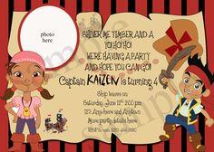 Jake and the Neverland Pirates birthday invitation -