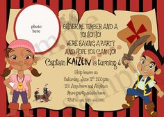 Jake and the Neverland Pirates birthday invitation -