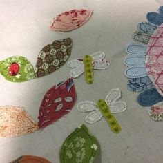 """Block four progress -dragonflies, sweet peas and ladybugs #rowdyflatlibraryquilt"""