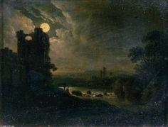 Paysage au clair avec la rivière de Abraham Pether (1756-1812, United Kingdom)