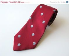 Vintage 1970s Red Tattersall Angry Dog Necktie