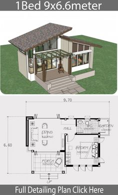 Small home design plan with one bedroom - Home Design with Plansearch. Small home design plan with one bedroom Sims House Plans, Modern House Plans, Small House Plans, House Floor Plans, One Bedroom House Plans, Small Room Design, Tiny House Design, Modern House Design, House Layouts