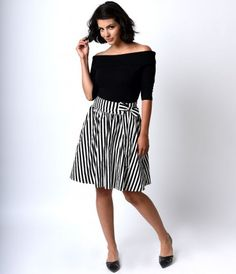 We think we spot a stunning separate! A gratifying black and white high waisted retro style skirt fresh from Sourpuss, c...Price - $52.00-b73Disyw