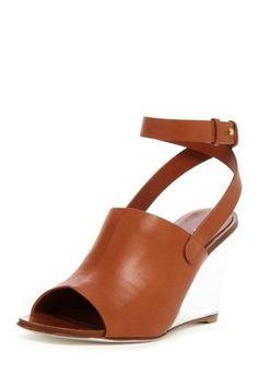White  Brown Wedge Sandal.
