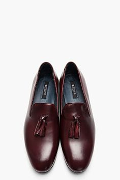 Tiger Of Sweden Dark Burgundy Leather Tassled Vincent 02 Loafers for men | SSENSE
