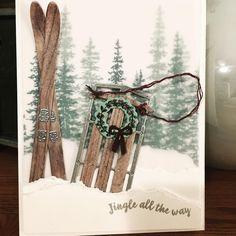 Jingle all the way. Stamped Christmas Cards, Christmas Card Crafts, Handmade Christmas Decorations, Stampin Up Christmas, Noel Christmas, Xmas Cards, Holiday Cards, Christmas 2019, Alpine Adventure