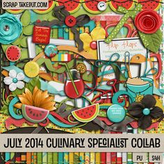 This colorful and refreshing Collab from our STO designers is a must for scrapping all of your favorite summer photos! Spend $5 in the STO store and get this huge collab free. Hurry - this offer ends July 31, 2014! http://scraptakeout.com/shoppe/Culinary-Specialists-Collab-July-2014.html