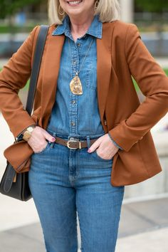 Denim on denim, Chambray tops, great necklaces for women, Blazers and Jeans Chambray Shirt Outfits, Denim Shirt, Chambray Top, Denim Jeans, Fashion Pants, Fashion Outfits, Casual Outfits, Blazer Outfits For Women, Fashion Over 50