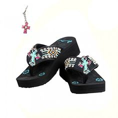 68a37240229f6 Amazon.com  Montana West Aztec Turquoise Cross Bead Flip Flops and Key Ring  Black (10)  Shoes