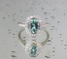 Blue Green Sapphire Engagement Ring in 14k White Gold Diamond Halo Gemstone Engagement Ring Weddings Anniversary