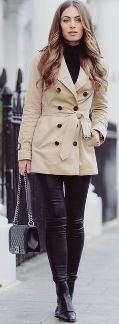 Wearing a classic beige trench coat is always a good option for getting those casual, sophisticated vibes. Lydia Lise Millen wears a Burberry trench with black denim jeans and sleek leather Chelsea boots.  Trench: Burberry via Farfetch, Denim: Citizens of Humanity, Roll Neck: Jaeger, Boots: Saint Laurent, Bag: Chanel. #wearing