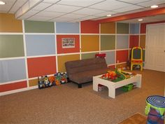 amazing kid-friendly finished basement, kid's play room, basement design