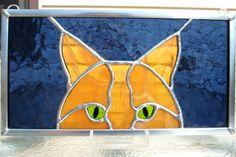 Peeking Cat Stained Glass Panel