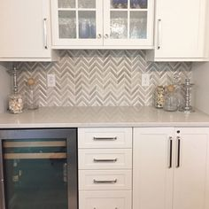 Great use of herringbone tile at splash Backsplash Kitchen White Cabinets, Kitchen Tiles, Kitchen Design, Backsplash Ideas For Kitchen, White Cabinet Kitchen, Home Depot Backsplash, Kitchen Backplash, Kitchen Cabinets Home Depot, Basement Kitchen
