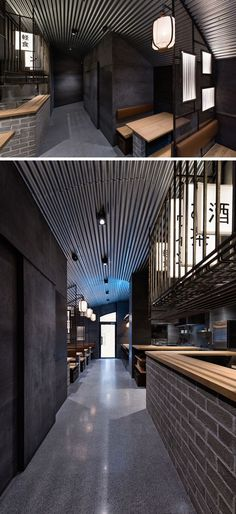 Industrial Interior Design - This Restaurant and bar goes for a warehouse chic style with metal, concrete, and wood. At the back of this modern restaurant is a small dimly lit tunnel covered with metal panels that leads to the main dining room.