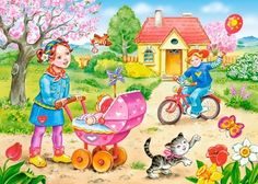 Solve Spring jigsaw puzzle online with 234 pieces Preschool Decor, Preschool Activities, Four Seasons Art, Picture Comprehension, Teaching Weather, Cartoon Pics, Drawing For Kids, Art Sketchbook, Art Images