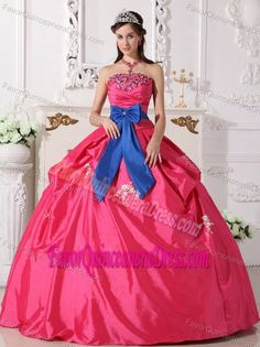 Hot Pink Boll Gown Taffeta Quince Dresses to Floor length with Blue Bowknot