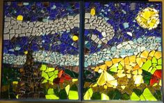 2 Piece Starry Night Mosaic wall hanging.