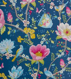 Chinese Garden - Dark Blue wallpaper, from the Pip 3 collection by Brian Yates