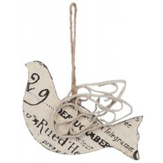 Scroll Ephemera Bird Ornament