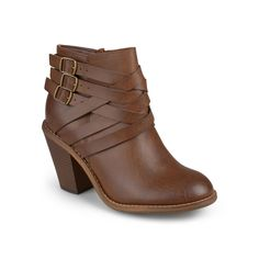 Journee Collection Strap Women's Ankle Boots, Teens, Size: 6, Brown