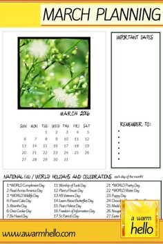Celebrate Each Day of the Month with a Downloadable March Planning Calendar | A Warm Hello