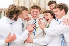 Groom surrounded by groomsmen candid moment | Oquirrh Mountain Temple and Draper Day Barn Winter Wedding | Jessie and Dallin Photography #ldstemple #utahtemple #oquirrhmountain #ldswedding #templewedding #utahwedding #winterwedding #ldstemplewedding #brideandgroom #utahbrideandgroom #utahvalleybride #rockymountainbride #weddingparty #blue #ivory #groomsmen Utah Temples, Lds Temples, Temple Wedding, Wedding Day, Lds Bride, Photographer Portfolio, Utah Wedding Photographers, Fall Engagement, Groom And Groomsmen