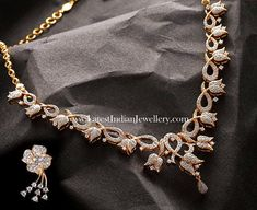 lotus flower design, studded with round brilliant diamonds in this stunning necklace paired with simple and stunning floral diamond studded earring devji Diamond Necklace Set, Diamond Pendant, Diamond Jewelry, Stone Necklace, Gold Jewelry, India Jewelry, Gold Bangles, Crystal Necklace, Antique Jewelry