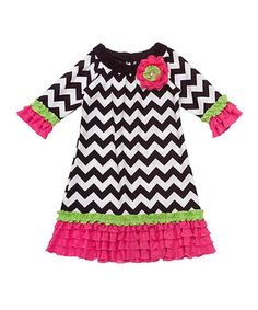 Loving this Black & White Chevron Dress - Girls on #zulily! #zulilyfinds