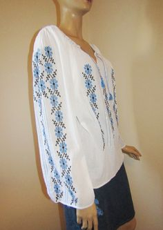 Hand embroidered Romanian peasant blouse, ethnic handmade top size M Embroidered Clothes, Peasant Blouse, Ethnic, Tunic Tops, Long Sleeve, Sleeves, Handmade, Women, Fashion