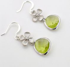 Peridot earrings, silver framed crystal drop, flower charm dangle, green, delicate everyday jewelry, holidays gift, by balance9