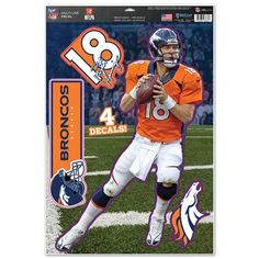 Denver Broncos Peyton Manning Decal 11x17 Multi Use