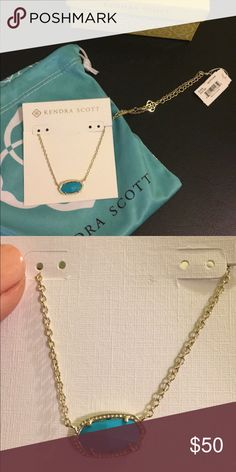 "Kendra Scott necklace Turquoise, custom Kendra Scott ""Elisa"" necklace. Comes with tags and original box and bag!! Kendra Scott Jewelry Necklaces"
