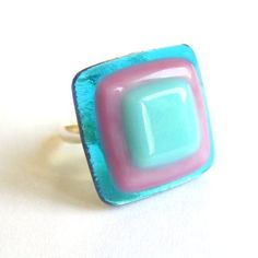 Blue-pink-turquoise squares fused glass ring  by Krilla Glass, via Flickr