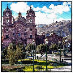 Cusco's main square - Plaza de Armas. Etching Peru, Cathedral, Maine, Building, Travel, Turkey, Viajes, Buildings, Cathedrals