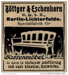 Original-Werbung/ Anzeige 1925 - GARTENMÖBEL BÖTTGER & ESCHENBORN BERLIN - LICHTERFELDE - ca. 40 x 35 mm