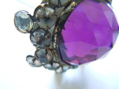Antique Hat Pin with Purple Glass and Rhinestones