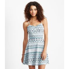 Aeropostale Southwestern Diamond Cage-Back Dress ($20) ❤ liked on Polyvore featuring dresses, cream, cage dress, creme dresses, white strap dress, diamond dress and white print dress