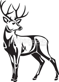 Graphic black stylized illustration drawing of decorative wild deer Hirsch Silhouette, Deer Head Silhouette, Silhouette Clip Art, Deer Drawing, Drawing Sketches, Art Drawings, Deer Art, Moose Art, Deer Stencil