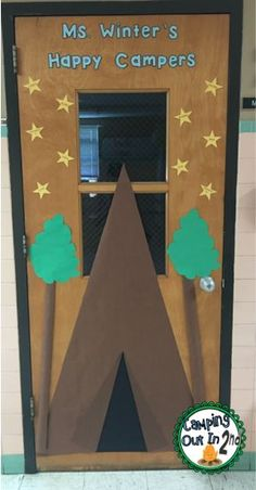 Camping Classroom Door.  This blog has tons of camping themed decoration ideas!