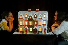 Detailed Instructions for Making a Lighted Gingerbread House - we make them much smaller too.